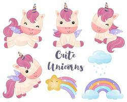 Cute little unicorns collection in watercolor vector