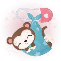 Adorable baby monkey illustration in watercolor vector