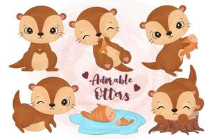 Cute little otters collection in watercolor vector