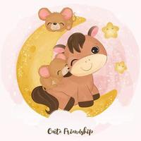 Cute little pony and mice in watercolor illustration vector