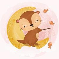 Adorable baby otter in watercolor illustration vector