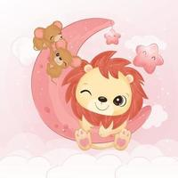 Cute little lion and mice in watercolor illustration vector