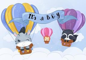 Cute baby animals flying with air balloon vector