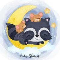 Adorable baby raccoon and mice illustration in watercolor vector