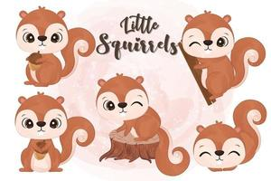 Cute little squirrels collection in watercolor vector