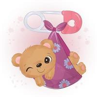 Adorable baby bear illustration in watercolor vector