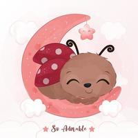 Adorable little ladybug illustration in watercolor vector