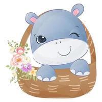 Cute baby hippo in watercolor illustration vector