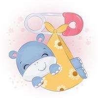 Adorable baby hippo illustration in watercolor vector