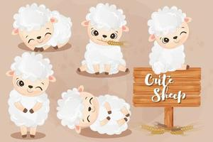 Cute little sheeps collection in watercolor vector