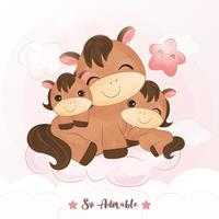 Cute mom and baby ponies playing together vector