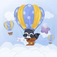Cute little raccoon and bunny flying with air balloon vector
