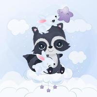 Cute little raccoon and bunnies in watercolor illustration vector