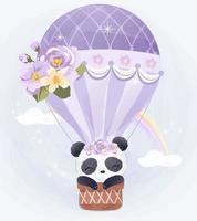 Adorable baby panda flying with air balloon vector
