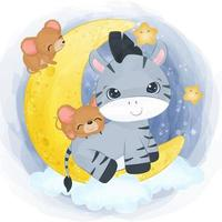 Cute little zebra and mice in watercolor illustration vector