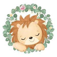 Cute baby lion in watercolor illustration vector
