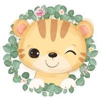 Cute baby tiger in watercolor illustration vector