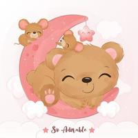 Cute little bear and mice in watercolor illustration vector