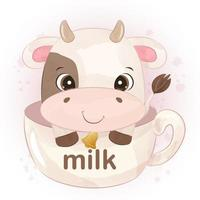 Cute little cow in watercolor illustration vector