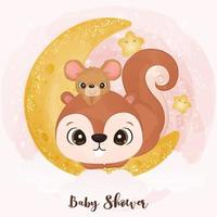 Cute little squirrel and mice in watercolor illustration vector