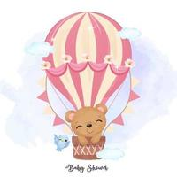 Adorable baby bear flying with air balloon vector