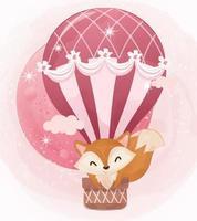 Adorable little fox illustration in watercolor vector