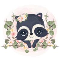 Adorable little raccoon in watercolor illustration vector