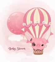 Adorable little pig illustration in watercolor vector