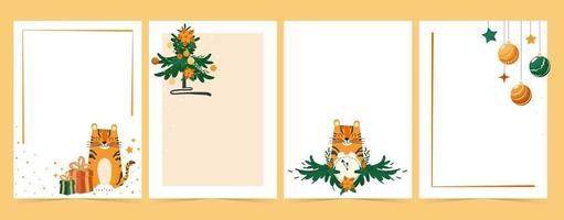 A set of New Year and Christmas backgrounds for children's cards, sheets and to do list. Cartoon tiger and christmas tree with decorations vector illustration collection