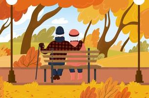 Grandfather and grandmother are sitting on a bench in the autumn city park. Family of adults hug and enjoy the scenery. Vector illustration.