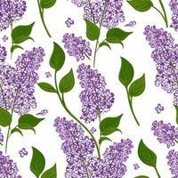 patrón sin fisuras de ramas lilas con hojas verdes. vector de fondo dibujado a mano floreciendo flores púrpuras