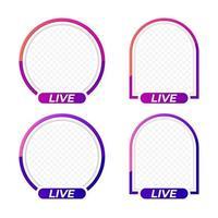 Social media user avatar LIVE video streaming template. Element for web, mobile, ui. 3d vector illustration