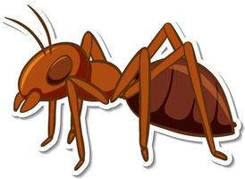 A sticker template with red ant isolated vector