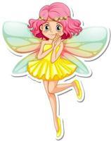 Beautiful fairy cartoon character sticker vector