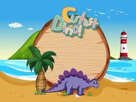 Beach scene with empty board template and cute dinosaur cartoon character vector