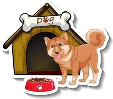 Sticker design with shiba inu standing in front of dog house vector