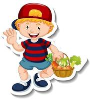 Sticker template with a boy holding vegetable basket cartoon character isolated vector