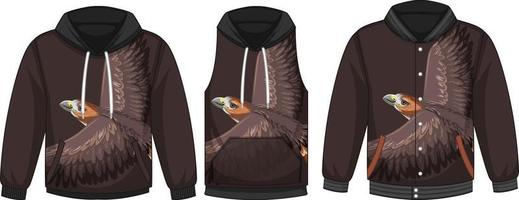 Set of different jackets with hawk template vector