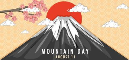 Mountain Day in Japan banner with Mount Fuji and Sunrise vector
