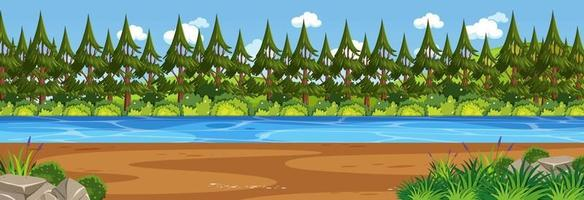Panorama landscape scene with river through the forest vector