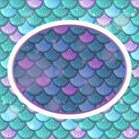 Oval frame template on green rainbow fish scales background vector