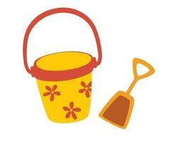 Toy bucket with a dustpan. Beach games. Summer vacation.  Set of buckets and dustpan for playing in the sandbox for children. Vector cartoon illustration.