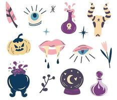 Witch magic design collection. Set of elements for Halloween. Party invitation. For tattoo, textile, cards. Witch's Cauldron, Potions, Vampire fangs, pumpkin, Eyes. Vector cartoon illustration