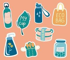 Ecology colorful stickers collection. Zero waste items lunch box, thermos, mug, cloth bag, cream, wooden cutlery. Eco friendly lifestyle. No plastic. Vector cartoon illustration