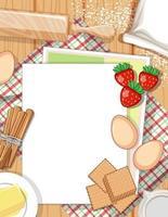 Vista superior del papel vacío sobre la mesa con elemento de ingrediente de panadería vector