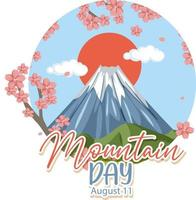 Mountain Day on August 11 banner with Mount Fuji isolated vector