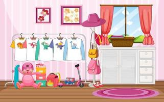 Children clothes on a clothesline with many toys in the room scene vector