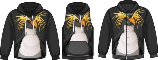 Set of different jackets with penguin template vector