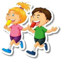 Sticker template with couple of kids students cartoon character isolated vector