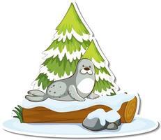 pegatina de un lindo sello de pie junto a un pino cubierto de nieve vector